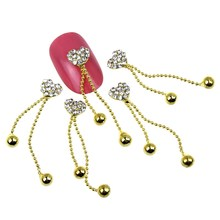 10pcs/lot New Arrival Heart Shaped Rhinestones Special Nail Charms Gold Plated Chain Dangle Ball Nail Art Decorations MA0499(China (Mainland))