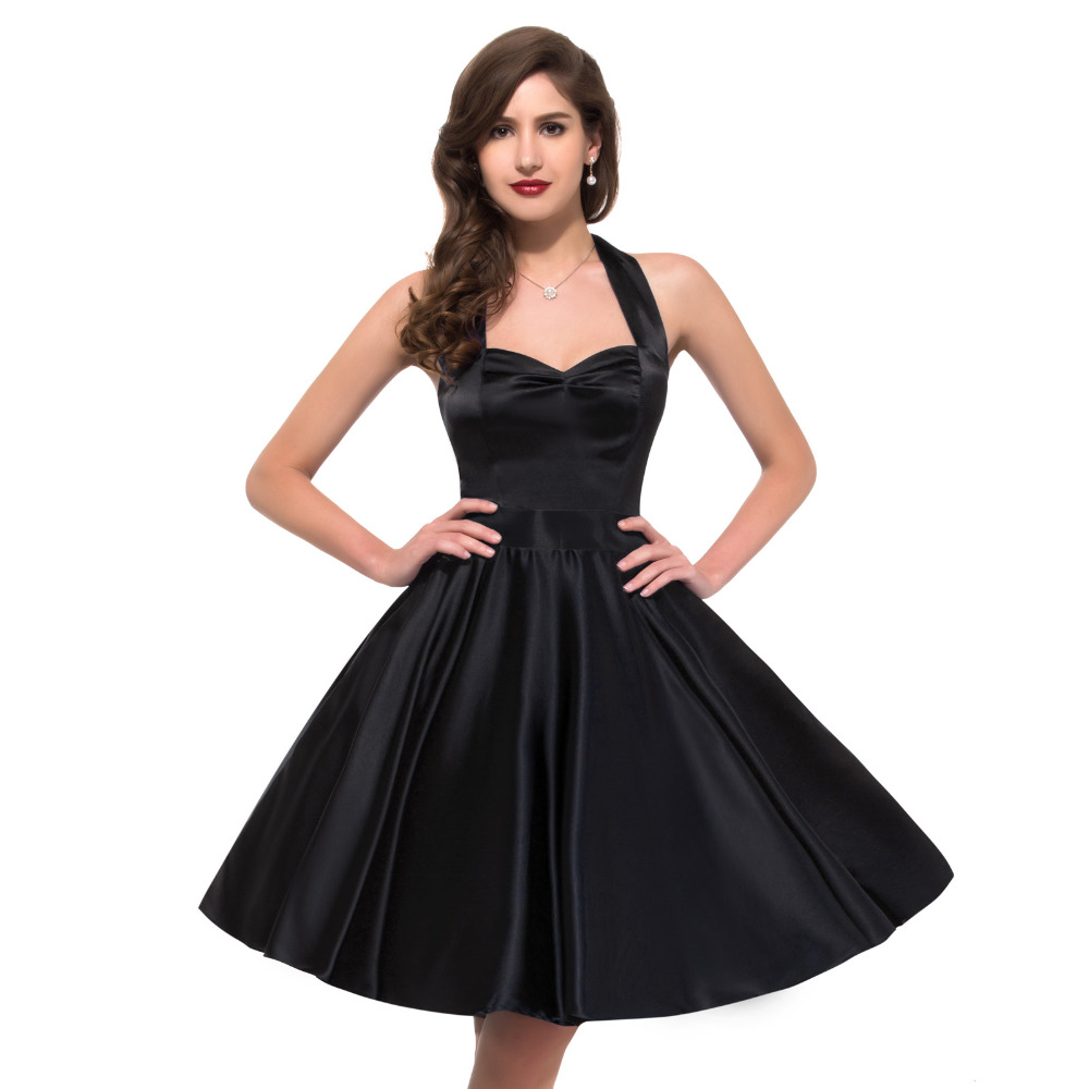 Cheap 2016 New Arrive Vintage Rockabilly Dresses Knee Length Short Swing Pinup Audrey Hepburn ...