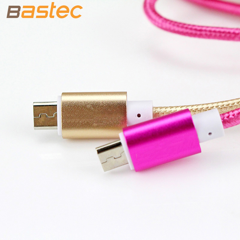2016 Newest Colorful Nylon Line and Metal Plug Micro USB Cable for iPhone 6 6s Plus