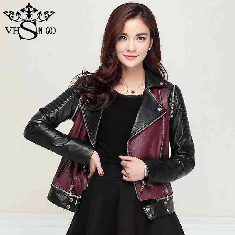 2015 original hot biker motorcycle jacket women Casual Zipper Removable belt sleeve women's geniune sheep skin leather jackets(China (Mainland))