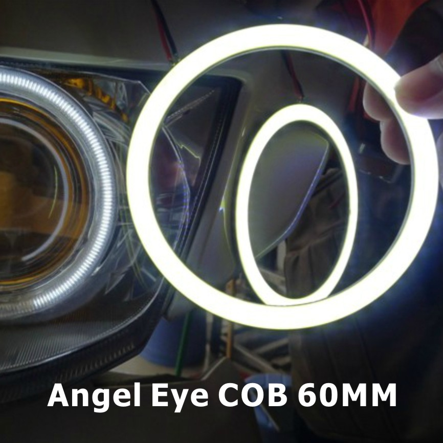 2x 60mm COB Angel Eye LED Halo Rings Car Motorcycle Light Waterproof Auto Headlight Lighting Lampshades - X-Car LED&AUTO Supplies store