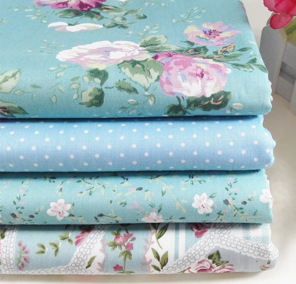 4pcs 40*50cm blue polka dot diy cotton sewing patchwork fabric Fat Quaters tecidos crafts doll cloth pillow bedding tissue(China (Mainland))