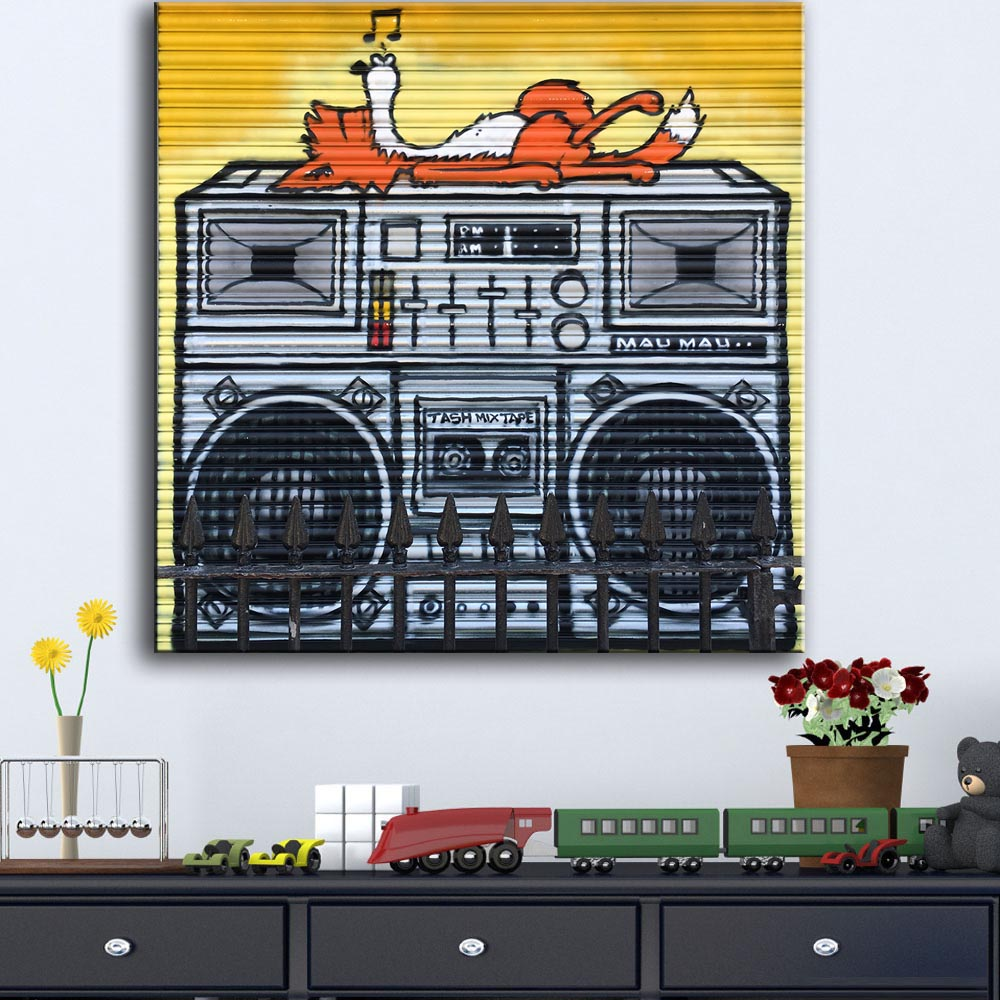 Large size New Fashion Fox On Boom Box Graffiti print canvas for wall art decoration oil painting wall painting picture No frame(China (Mainland))