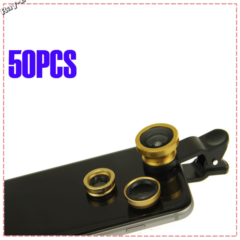 50Pcs DHL Free Shipping 3 In 1 Clip-on Fish Eye Macro Wide Angle Mobile Phone Lens fisheye for i Phone 4 5 6 S amsung S4 S5(China (Mainland))