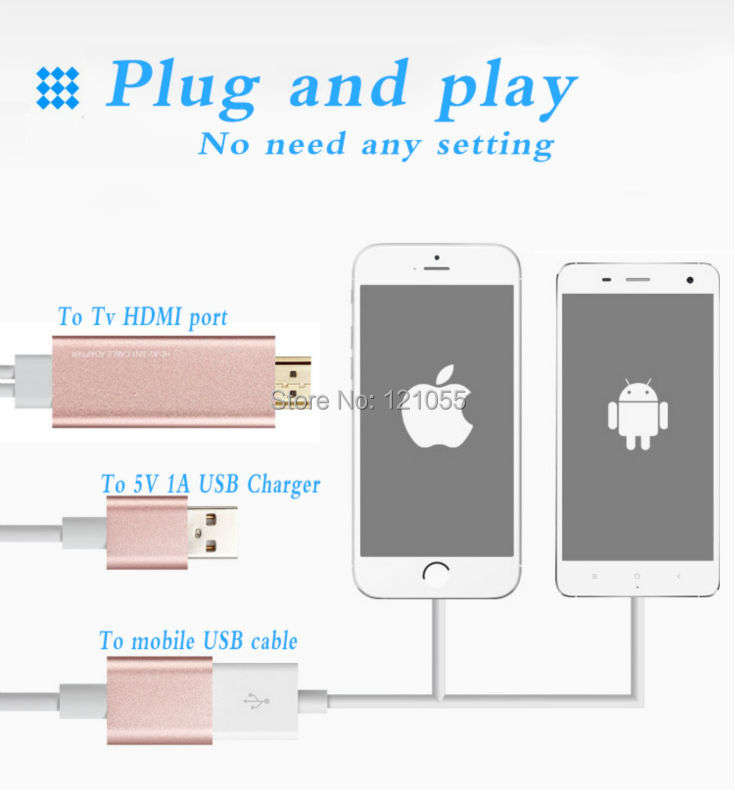 Universal MHL CABLE for iphone 7 6 HDMI hdtv adapter ios 10 apple type-c Android Samsung S7 S6 huawei P9 xiaomi mobile to TV BOX