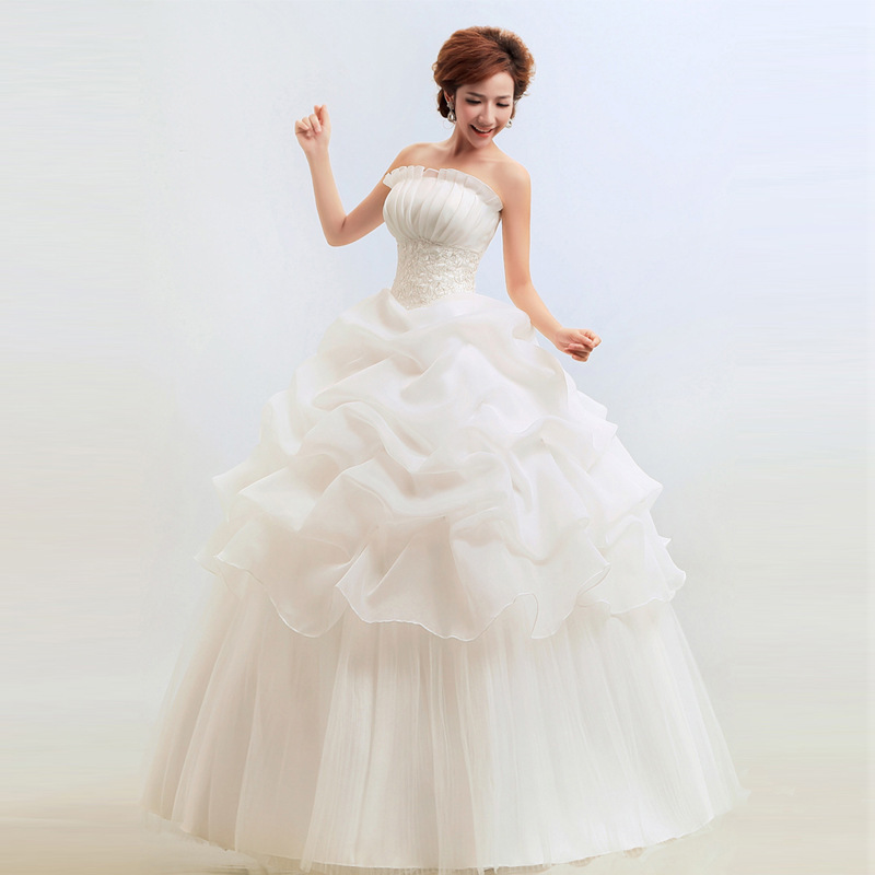 Wedding dresses under 50 strapless korean cheap wedding for Cheap wedding dress under 50