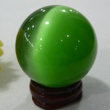 Cat's Eye Crystal Ball Orb Sphere 40mm display-Green free shoping
