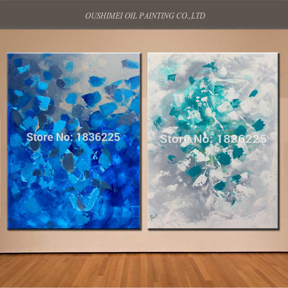 New Creative Hand Painted Modern Yellow Abstract Oil Painting Landscape Decorative Blue Painting On Canvas For Living Room Decor(China (Mainland))
