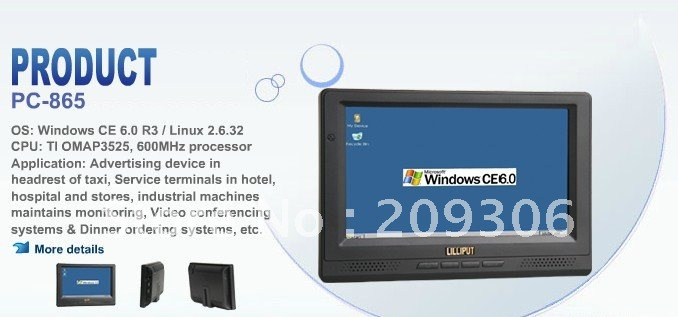 "LILLIPUT PC-865 8"" Embedded All In One PC with OS WinCE 6.0 Linux 2.6.32"