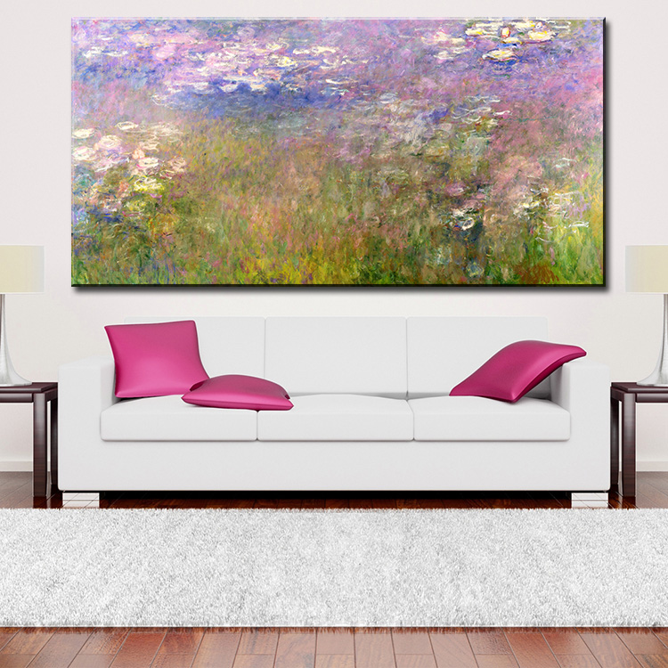 wall Picture oil painting Claude Monet's iconic Water Lilies series never fails to impress painter print wall painting No Framed(China (Mainland))
