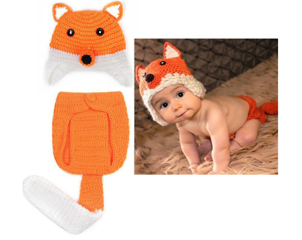 Hot selling super cute newborn infant baby wool handmade knitted crochet ear caps hat fox photography clothing set props suit(China (Mainland))