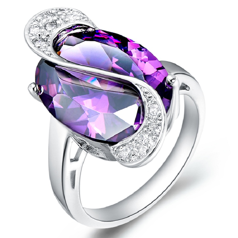 40% Off Charms Vintage Rings With Amethyst For Women Big Sale 2016 Parties Finger Purple Ring Female Ruby Jewelry A005(China (Mainland))