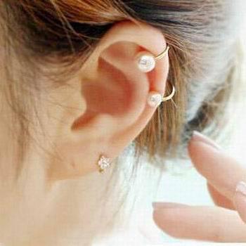 Womens Elegant Pearl Ear Wrap  Ear Cartilage Stud Earrings
