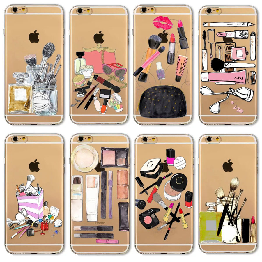 Beauty Make up Tools Back Case for iPhone 6 6s Plus Transparent Cover Clear Phone Case for iPhone 7 7Plus for Girls(China (Mainland))