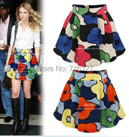 new fashion 2015 women's Spring summer High waist Floral printing Pompon short skirts S-XL - Odie's store