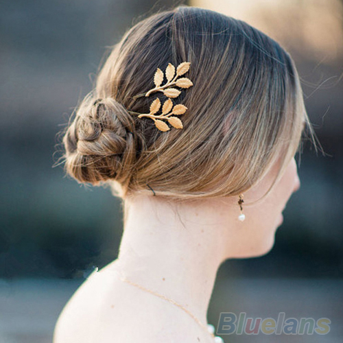 1Pc Fashion Lovely Leaves Golden Metal Punk Hairpin Hair Clip women 1E4O(China (Mainland))