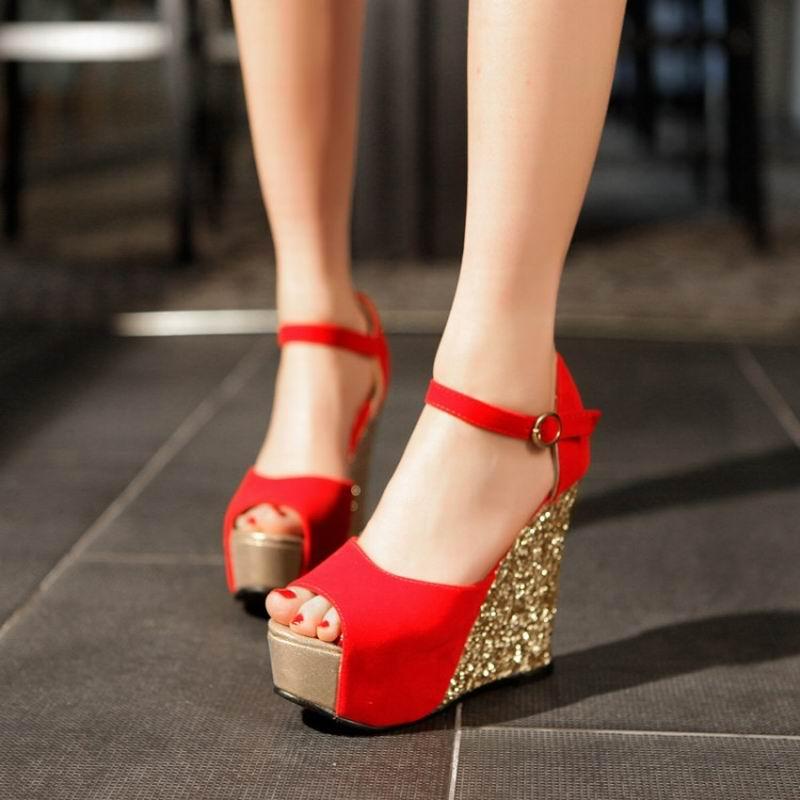Red Open Toe Wedding Heels