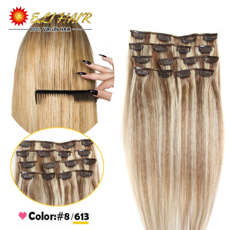 #8/613 Mixed Color Straight Human Hair Clip In Extensions Premium Quality Ash Brown Bleach Blonde Mix Remy Hair Clip In(China (Mainland))
