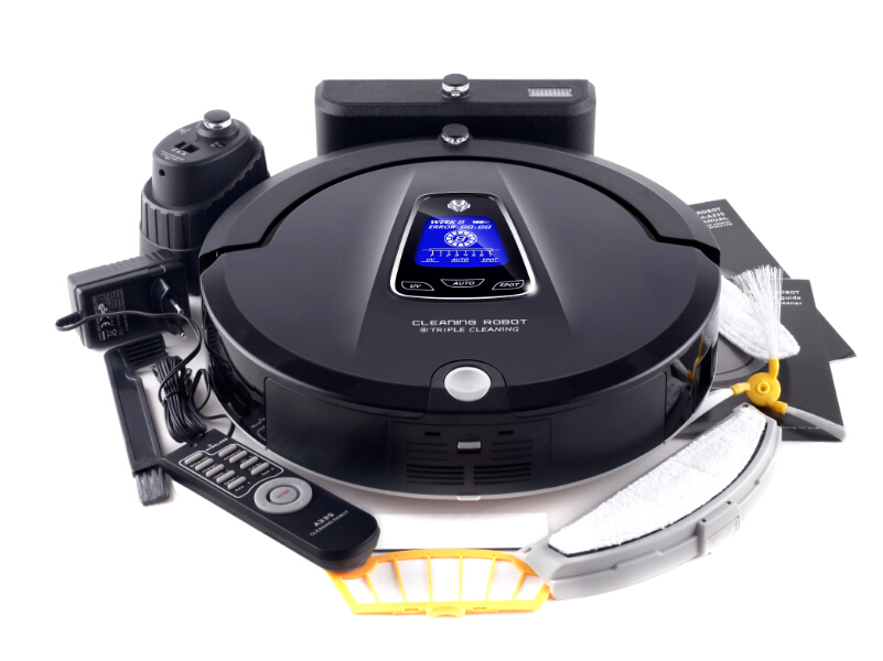 (Ship from Russia) Automatic Robot vacuum cleaner for Home,Schedule, 2 way Virtual blocker, Selfcharg,Remote, Mop, UV lamp, LCD(China (Mainland))