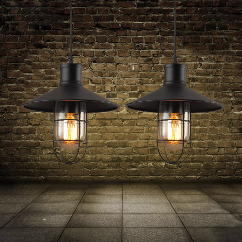 E27 vintage industrial pendant lamp nordic retro light lampshade loft lights living dining room Countryside edison lamps(China (Mainland))