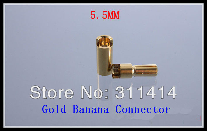 10pairs/lot 5.5mm 5.5 Golden Banana Connectors Plug For RC Battery ESC Brushless Motor High Quality Retail Dropship(China (Mainland))