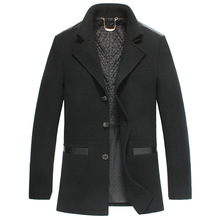 Autumn winter high end single breasted men wool coats new style casual solid color turn down collar fashion warm woolen coats(China (Mainland))