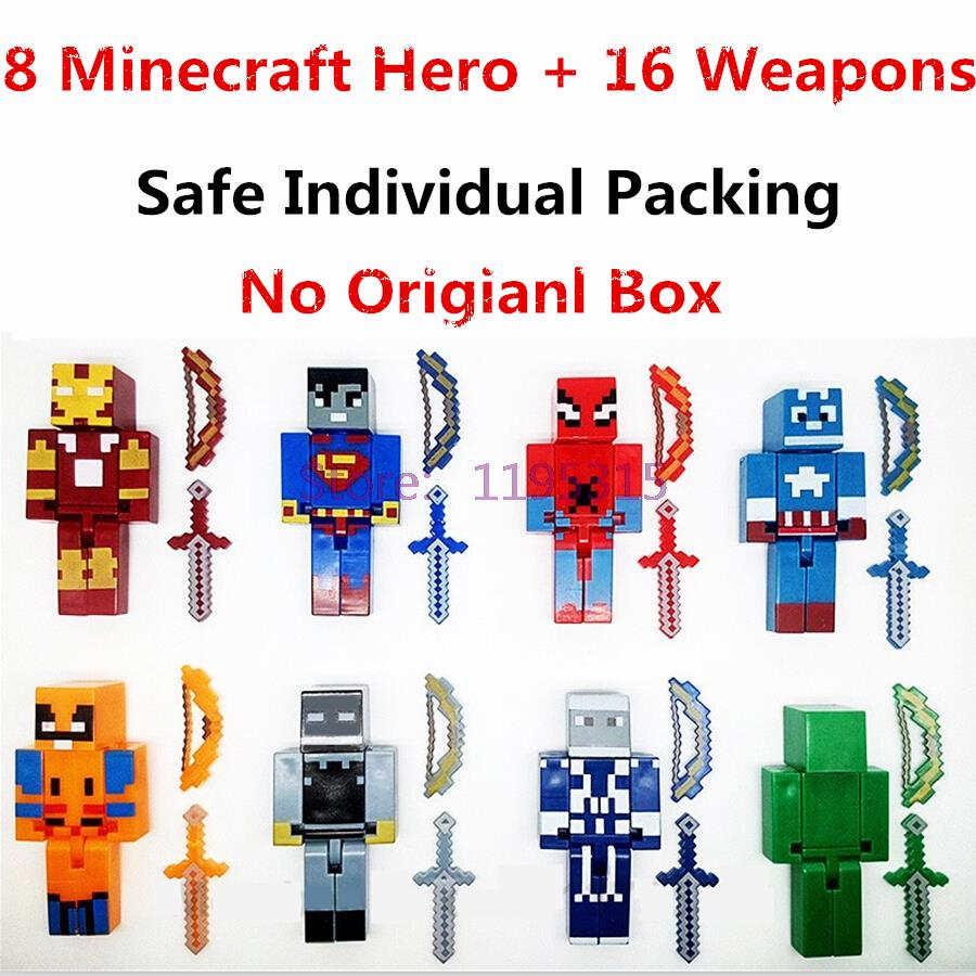 8PCS/lot Minecraft Game Brinquedo Toys Marvel Avengers Super Hero Justice League Building Blocks Action Toys Kids Gift #EB(China (Mainland))