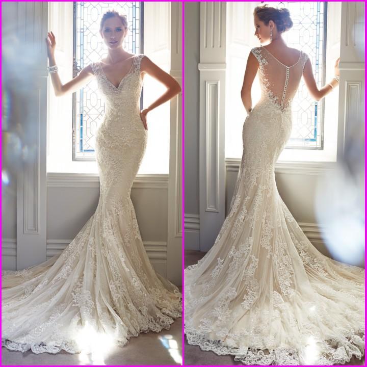 New 2014 Sexy White Ivory V Neck Sleeveless Long Bridal Gown Backless Lace Mermaid Wedding Dress