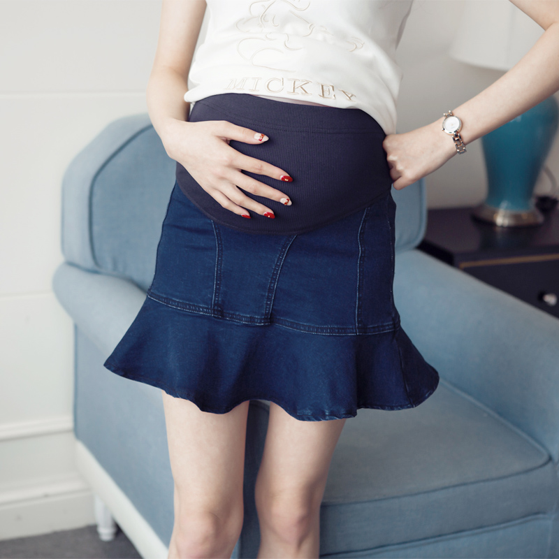 Maternity short skirt spring and summer denim skirt maternity clothing denim shorts pregnant woman bust skirt fish tail skirt(China (Mainland))