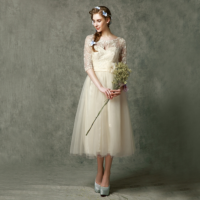 Bridesmaid dresses 2015 mid calf designed bridesmaid gowns for Mid length dress for wedding