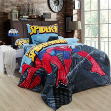 Winter Fleece fabric duvet cover set twin full size,cartoon children 3pc bedding sets/ spiderman blanket 150*200cm(China (Mainland))