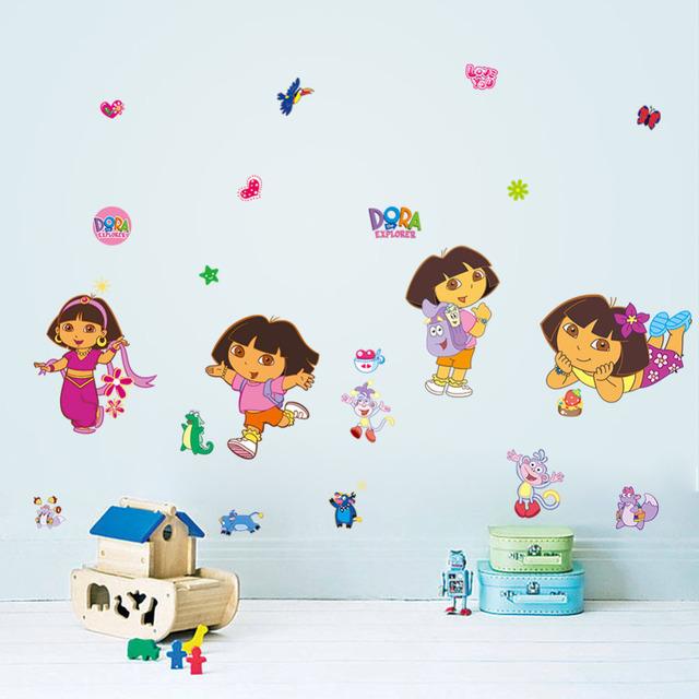 Прекрасный DIY мультфильм дора стены стикеры для детей номеров съемные искусство переводные картинки домашнего декора винил Nursey детский сад обои