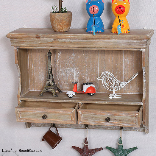 Vintage Brown White Pine Wood Wall Shelf with Drawers and Hooks(China (Mainland))