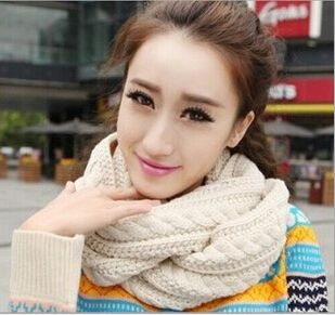 Solid Cable Knit Scarf Autumn and winter Fashion Korean Women Wool Scarf Factory Direct Wholesale Winter Shawl S4076(China (Mainland))