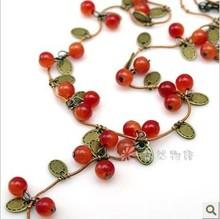 RN-0331 Fashion Jewelry For Women Korean Fashion Vine Red Cherry Necklace(China (Mainland))