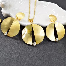 Ensoleillé bijoux rond résultats de bijoux grand ensemble de bijoux pour les femmes collier boucles d'oreilles pendentif vente chaude bijoux pour fête de mariage(China)