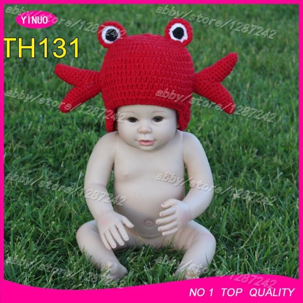 3-5DAYS delivery crochet crab hat hand made knitting cotton baby hat beanie wholesale baby studio photo props(China (Mainland))