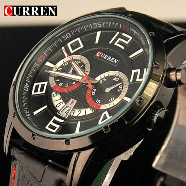 Моде кварцевых дата черный часы деловой человек наручные часы из натуральной кожи водонепроницаемый военный мужской часы Curren Relogio Masculino