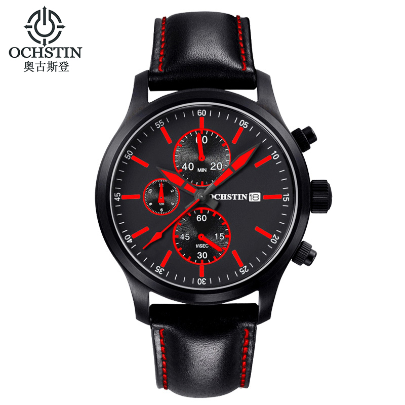 OCHSTIN Outdoor Sport Watch Men Genuine Leather Strap Chronograph Quartz Wristwatch Waterproof Fashion Male Clock Relojes Hombre(China (Mainland))