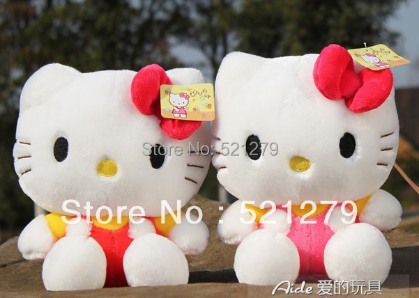 Free Shipping retail 1pcs 35cm stuffed Hello Kitty plush toy with bow,very cute hello kitty plush doll,kitty for lover/valentine(China (Mainland))