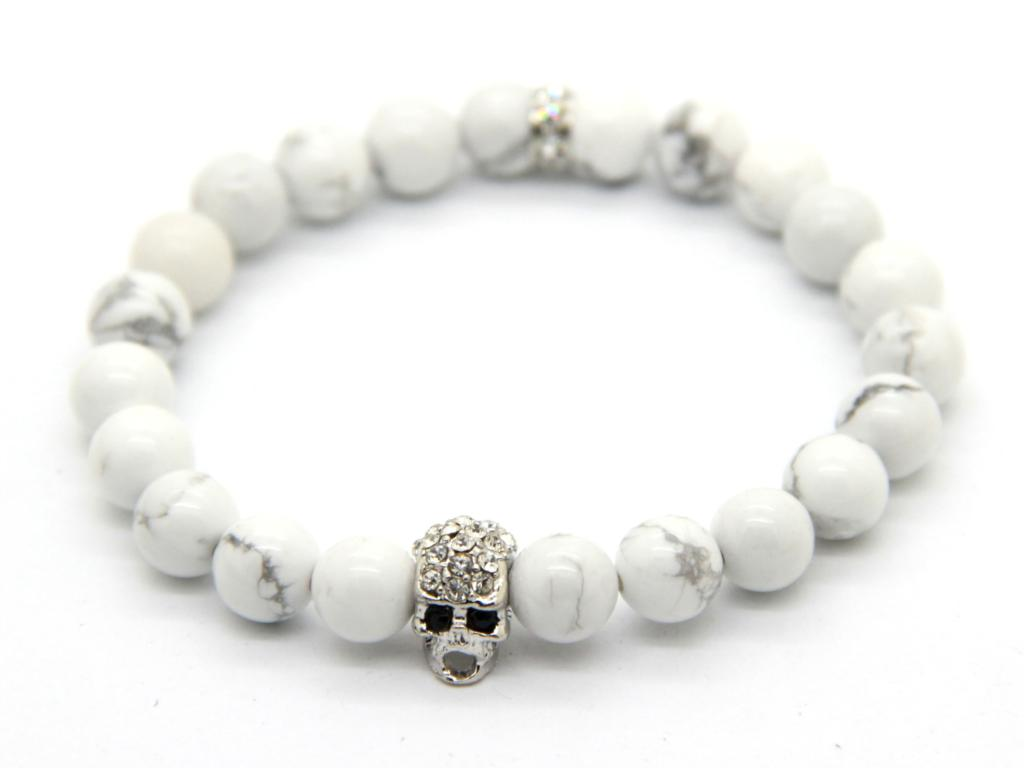 2015 New Design Men's Jewelry Made by 8mm White Howlite Stone Beads with Crystal Silver Skull, Summer Bracleets for Friend(China (Mainland))