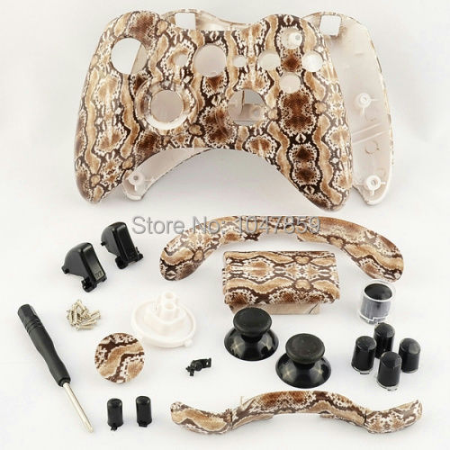 Wholesale Game controller Case Set Hydro Dipped Brown Snake Skin Shell For Microsoft XBOX 360 Wireless Controller Free Shipping(China (Mainland))