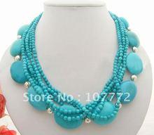 Stunning! 6S Blue Turquoise Necklace+free shippment(China (Mainland))