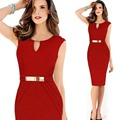 Fashion Spring Women Pencil Work Dress V Neck Back Sleeveless OL Slim Work Party Office Dresses