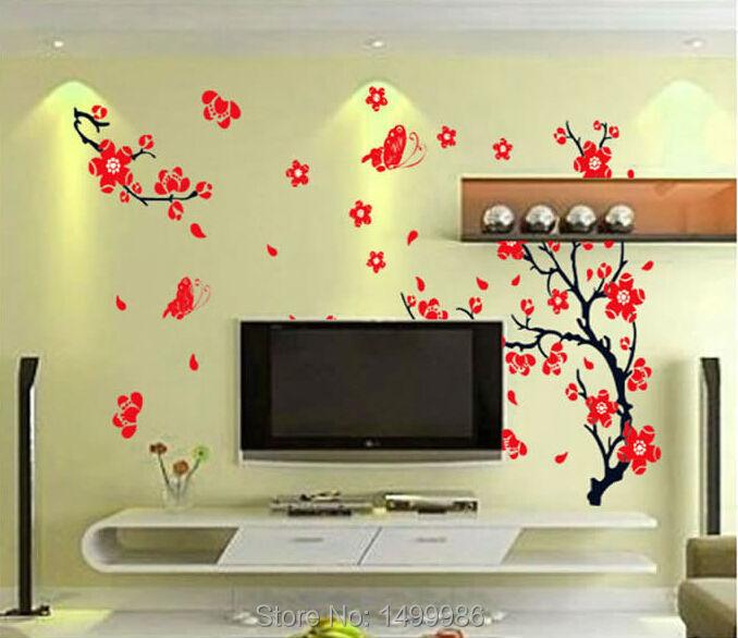 Red Plum Flower Family Diy Love Bedroom Decorative Home