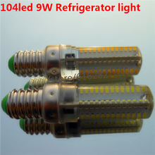 Энергосбережение! E14 SMD3014 Лампа 64 светодиодов 104 светодиодов 6 Вт 9 Вт AC220V AC230V AC240V Холодильник СВЕТОДИОДНЫЕ Лампы холодильник свет кукурузы