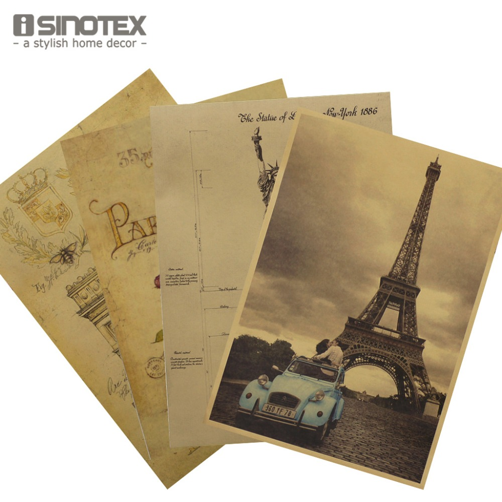 iSINOTEX Poster Vintage Hand Drawing Craft Paper Posters Wall Sticker Home Retro Decor 51*35.5cm/20*14' 1PCS/Lot