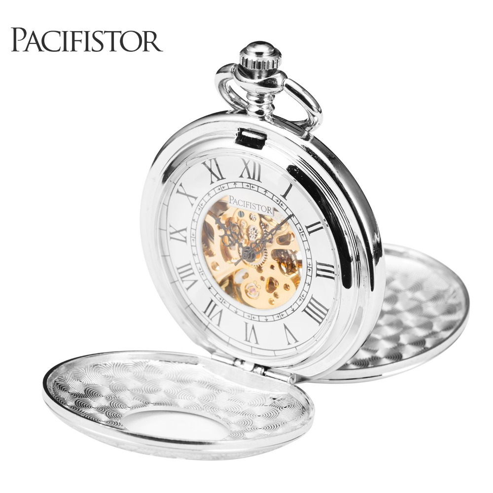 PACIFISTOR Pocket Watch Antique Mechanical Skeleton Dress Pocket Watch Necklace Pendant Chain Gift Silver Relogio 2016(Hong Kong)