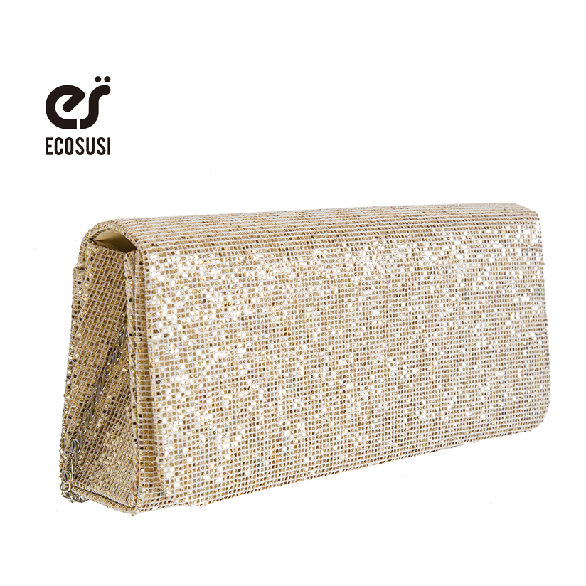 ECOSUSI 2016 Fashion Women Clutch Bag Dazzling Sequins Glitter Sparkling Handbag Dazzling Gold Evening Party Bag(China (Mainland))