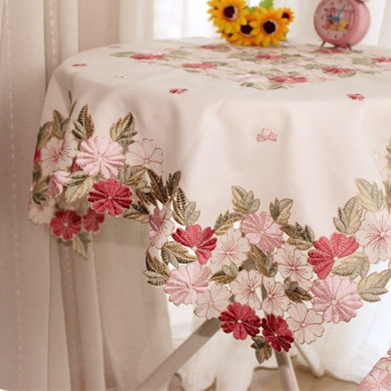 Square 85*85cm Cutwork Handmade Embroidered Table Cloth Topper Luxury Polyester Satin Jacquard Embroidery Floral Tablecloths(China (Mainland))